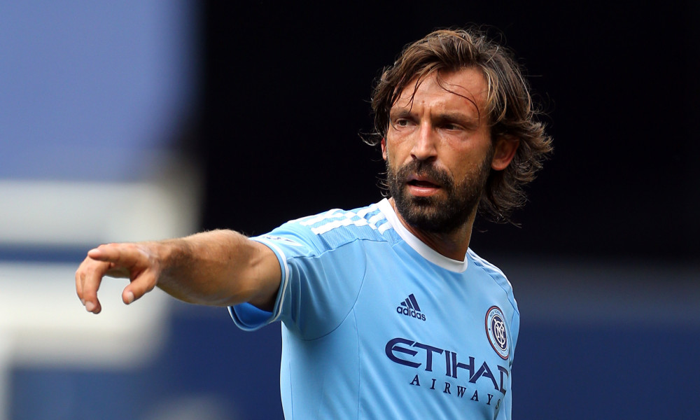 Jul 26, 2015; New York, NY, USA; New York City FC midfielder Andrea Pirlo (21) gestures against the Orlando City FC during the second half of a soccer match at Yankee Stadium. The New York City FC won 5-3. Mandatory Credit: Adam Hunger-USA TODAY Sports