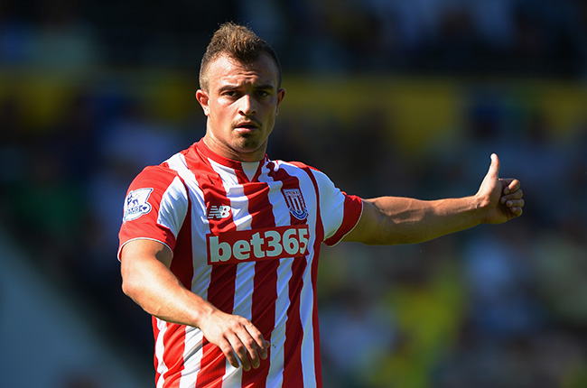 NORWICH, ENGLAND - AUGUST 22:  Xherdan Shaqiri of Stoke City in action during the Barclays Premier League match between Norwich City and Stoke City at Carrow Road on August 22, 2015 in Norwich, England.  (Photo by Tony Marshall/Getty Images)